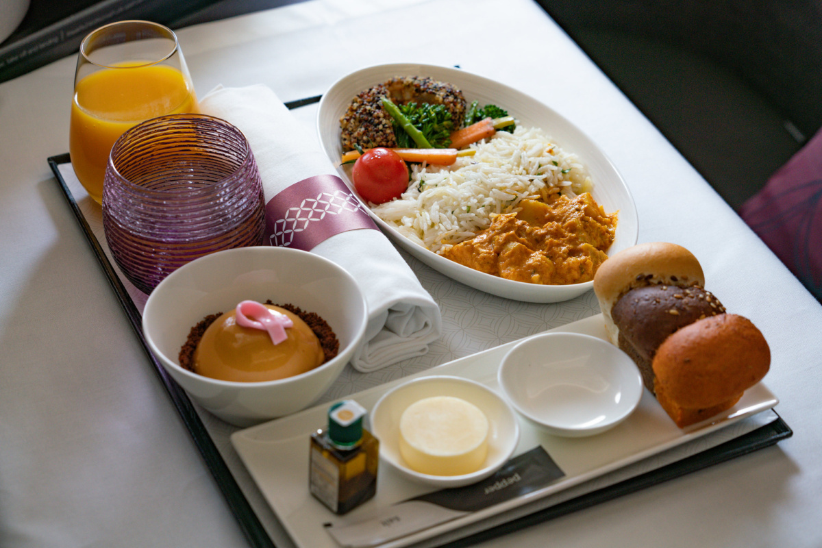 Qatar Airways vegán à la carte menük